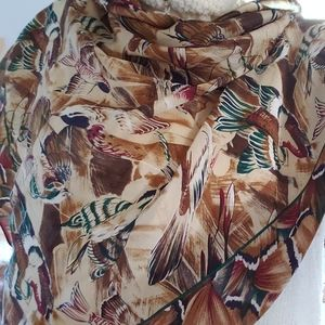 Large Japanese Silk Scarf ACUTE Watercolor Birds